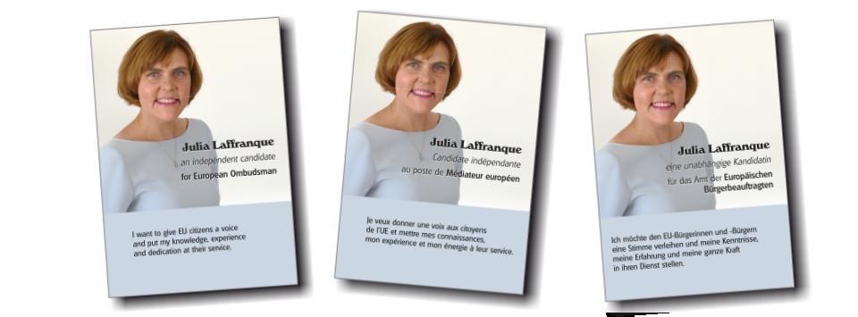 Julia Laffranque for European Ombudsman: campaign leaflets